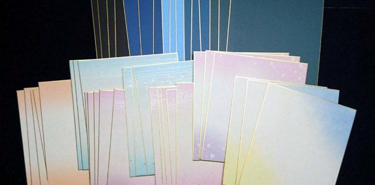 色紙作品、命名色紙などの色紙はたくさんの色と柄をお選びいただけます 鎌倉市長谷の書家 篠原遙己