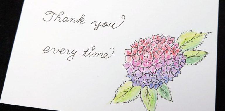 西洋カリグラフィーで水彩色鉛筆を使って紫陽花/鎌倉市長谷の書道教室