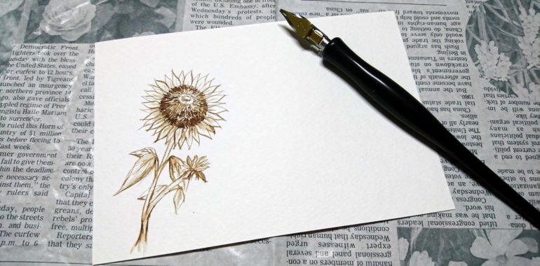 くるみインクで向日葵/西洋カリグラフィー