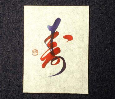 2色のカラー筆ペンを組み合わせて書いた「寿」/鎌倉市長谷の書道教室