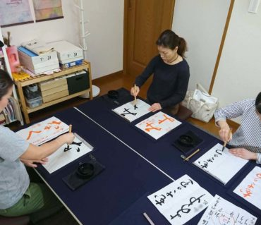 2019年5月中旬のレッスンの様子/鎌倉市長谷の書道教室